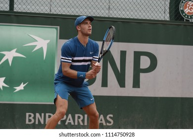 PARIS, FRANCE - MAY 28:  Borna Coric (CRO) competes in round 1 at the The French Open on May 28, 2018 in Paris, France.
