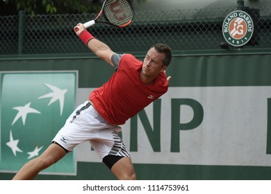 PARIS, FRANCE - MAY 28:  Philipp Kohlschreiber (GER) competes in round 1 at the The French Open on May 28, 2018 in Paris, France.