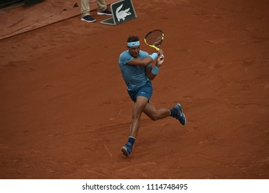 PARIS, FRANCE - MAY 28:  Rafael Nadal (ESP) competes in round 1 at the The French Open on May 28, 2018 in Paris, France.