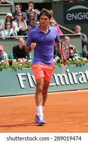 PARIS, FRANCE- MAY 29, 2015: Seventeen times Grand Slam champion Roger Federer during third round match at Roland Garros 2015 in Paris, France