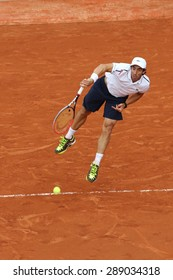 PARIS, FRANCE- MAY 29, 2015: Professional tennis player Pablo Cuevas of Uruguay during third round match at Roland Garros 2015 in Paris, France