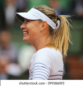 PARIS, FRANCE- MAY 29, 2015: Five times Grand Slam champion Maria Sharapova after third round match at Roland Garros 2015 in Paris, France
