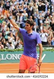 PARIS, FRANCE- MAY 29, 2015: Seventeen times Grand Slam champion Roger Federer celebrates victory after his  third round match at Roland Garros 2015 in Paris, France