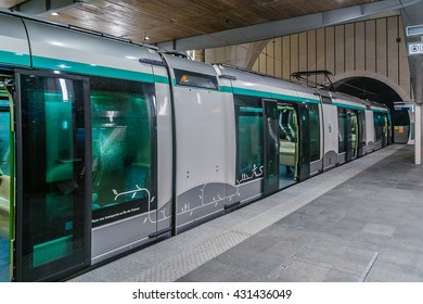 PARIS, FRANCE - MAY 29, 2016: T6 is a tramline in suburbs of Paris. 28 may Line T6 extended through a 1.6 km tunnel to Viroflay-Rive Droite station. Tram at Viroflay-Rive Droite station.