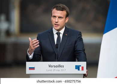 PARIS, FRANCE - MAY 29, 2017 : The President of France Emmanuel Macron in press conference at the Palace of Versailles after a working visit with the president of russian federation.