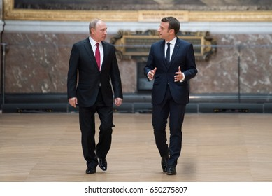 PARIS, FRANCE - MAY 29, 2017 : French President Emmanuel Macron in the Battles gallery with Vladimir Putin, the President of Russian Federation for a press conference at the Palace of Versailles.