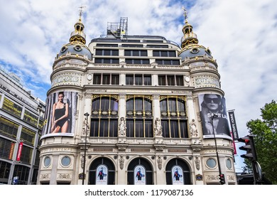 PARIS, FRANCE - MAY 29, 2018: Paris Printemps (founded in 1865) - largest beauty Department Store in world with 45000 square meters of shopping. Paris Printemps facade registered as Historic Monument.