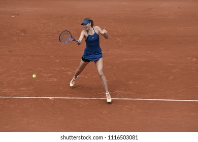 PARIS, FRANCE - MAY 29:  Maria Sharapova (RUS)) competes in round 1 at the The French Open on May 29, 2018 in Paris, France.