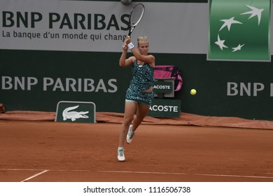 PARIS, FRANCE - MAY 29:  Richel Hogenkamp (NED) competes in round 1 at the The French Open on May 29, 2018 in Paris, France.
