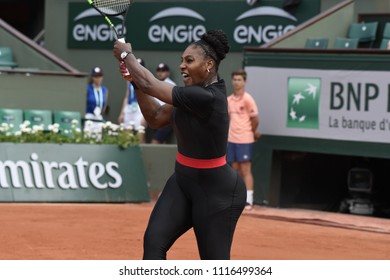 PARIS, FRANCE - MAY 29:  Serena Williams (USA) competes in round 1 at the The French Open on May 29, 2018 in Paris, France.