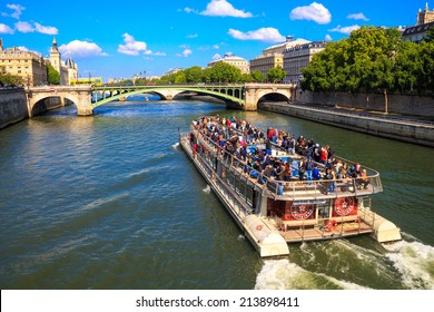 PARIS, FRANCE - May 3, 2014: ship Bateaux Parisiens on river Seine