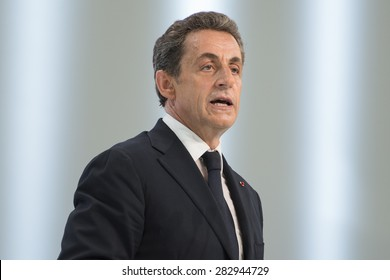 PARIS, FRANCE - MAY 30, 2015 : Nicolas Sarkozy during the founding congress of the Republican Party.