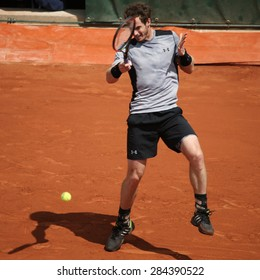 PARIS, FRANCE- MAY 30, 2015: Grand Slam champion Andy Murray during third round match at Roland Garros 2015 in Paris, France