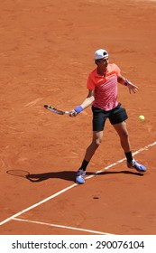 PARIS, FRANCE- MAY 30, 2015: Professional tennis player Thanasi Kokkinakis of Australia in action during his third round match at Roland Garros 2015 in Paris, France