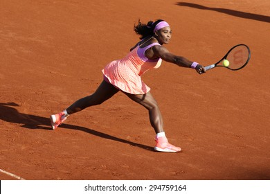 PARIS, FRANCE- MAY 30, 2015: Nineteen times Grand Slam champion Serena Williams in action during her third round match at Roland Garros 2015 in Paris, France