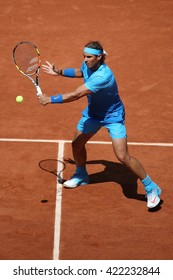 PARIS, FRANCE- MAY 30, 2015: Fourteen times Grand Slam champion Rafael Nadal in action during his third round match at Roland Garros 2015 in Paris, France