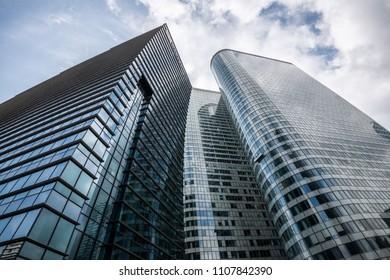PARIS, FRANCE - MAY 30, 2018: Bent Skyscraper in Business District of La Defense, Paris
