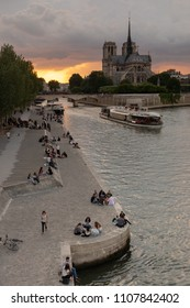 PARIS, FRANCE - MAY 30, 2018: Modern Life at the Seine River with view of Notre Dame