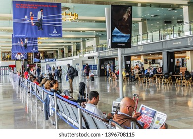 PARIS, FRANCE - MAY 30, 2018: Interior of Orly Airport (13 km south of Paris). Orly Airport is Paris second international airport - home to mostly European and northern African flights.