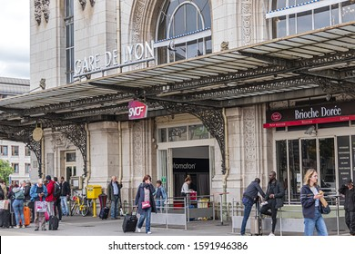 PARIS, FRANCE - MAY 30, 2019: Paris-Gare-de-Lyon (or Gare de Lyon - Station of Lyon, 1849), one of seven large railway station in Paris, one of the busiest of Europe.