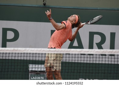 PARIS, FRANCE - MAY 30:  Alexander Zverev (GER) competes in round 2 at the The French Open on May 30, 2018 in Paris, France.