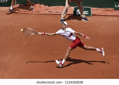 PARIS, FRANCE - MAY 30:  Novak Djokovic (SRB) competes in round 2 at the The French Open on May 30, 2018 in Paris, France.