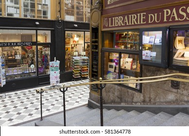 PARIS, FRANCE - MAY 31, 2016 : The passage Jouffroy was built in 1846. It is one of the most charming covered arcades in Paris with a lot of antique boutiques and unique shops. Antique architecture.