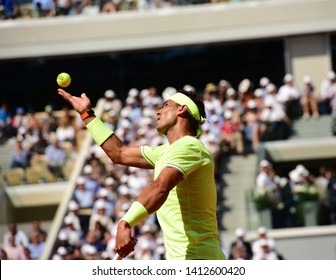 Paris, France - May 31 2019: Spain's Rafael Nadal playing Belgium's David Goffin in  3rd round match at Roland Garros on court Philippe Chatrier