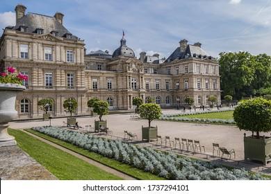 PARIS, FRANCE - MAY 31, 2019: Picturesque view of Luxembourg Garden (Jardin du Luxembourg). Jardin du Luxembourg - second largest Public Park in Paris.