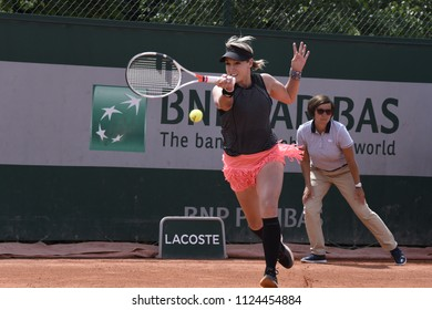 PARIS, FRANCE - MAY 31:  Bethanie Mattek-Sands (USA) competes in round 3 at the The French Open on May 31, 2018 in Paris, France.