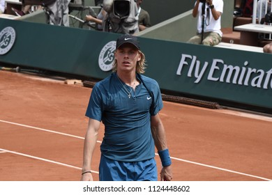 PARIS, FRANCE - MAY 31:  Denis Shapovalov (CAN) competes in round 3 at the The French Open on May 31, 2018 in Paris, France.