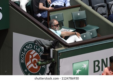 PARIS, FRANCE - MAY 31:  Ian Tiriac watches Lucas Pouille in round 3 at the The French Open on May 31, 2018 in Paris, France.