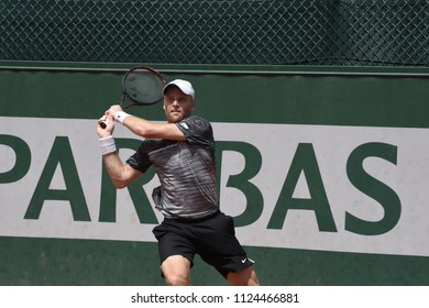 PARIS, FRANCE - MAY 31:  Jurgen Zopp (EST) competes in round 3 at the The French Open on May 31, 2018 in Paris, France.