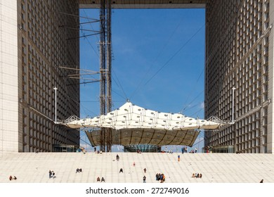 Paris, France - May 4, 2014: The building is in the form of an arch in the area Difans in Paris. Elevator to the observation deck on the roof.