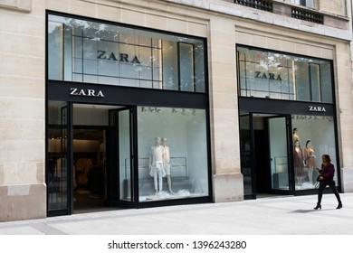 Paris, France - May 5, 2019: the entrance to Zara shop in the Champs-Élysées Avenue