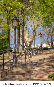 PARIS, FRANCE - May 5: Typical Montmartre staircase and old street lamps, on May 5, 2018 in Paris France