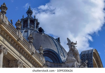 PARIS, FRANCE - MAY 6, 2015: The dome of the Small Palais . Small Palais (Petit Palais) is an art museum in Paris, located between Champs-Elysees and Les Invalides.