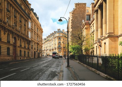 Paris, France - May 6, 2019 : Street view in the historical centre of Paris, France