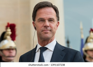 PARIS, FRANCE - May 6th, 2019 : Prime Minister of the Netherlands Mark Rutte in press conference with french president at the Elysee Palace.