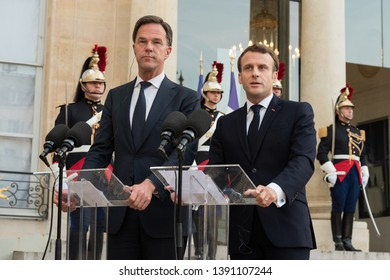 PARIS, FRANCE - May 6th, 2019 : Prime Minister of the Netherlands Mark Rutte in press conference with french president Emmanuel Macron at the Elysee Palace.