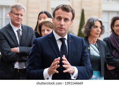 PARIS, FRANCE - May 6th, 2019 : French president Emmanuel Macron in press conference about biodiversity after a consultation with UN (United Nations) experts at the Elysee Palace.