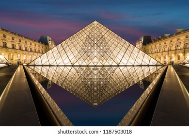 Paris, France - May 7, 2016: The Louvre Museum is one of the world's largest museums and a historic monument. A central landmark of Paris, France. Paris is the capital and most populous city of France