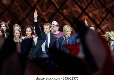 PARIS, FRANCE - MAY 7, 2017 : Emmanuel Macron has just been elected as President of France at the Carousel du Louvre with his wife Brigitte for his first speech in front of tens of thousands people.