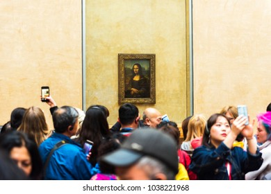 PARIS, FRANCE - MAY 8, 2017: Mona Lisa at the Louvre Museum. Paris, France.
