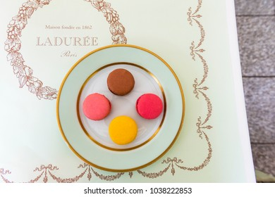 PARIS, FRANCE - MAY 8, 2017: Macarons from Laduree store on the Champs-Elysees Avenue.