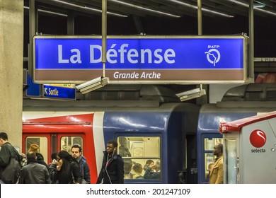 PARIS, FRANCE - MAY 9, 2014: Interior of La Defense RER (metropolitan underground transportation of Paris) station. It is located underneath Grande Arche building in Paris La Defense business district