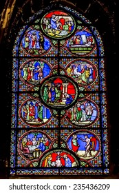 PARIS, FRANCE - MAY 9, 2014: Interior of Church of Saint-Germain-l'Auxerrois(Jean Gaussel, 1435 -1439). Founded in 7 century, church was rebuilt many times. Stained glass window.