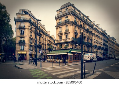 PARIS, FRANCE - MAY 9, 2014:  Quaint retro style street scene  taken in Paris France.