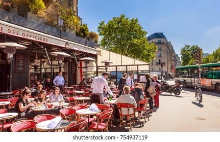 PARIS, FRANCE - MAY 9, 2017: Street Cafe. Paris, France