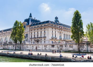 PARIS, FRANCE - MAY 9, 2017: Orsay Museum on the shore of the Seine river, Paris, France